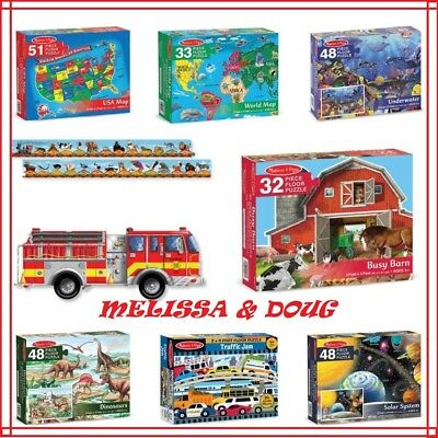 Melissa and Doug Large Floor Puzzle 24-48pc Barn, Dino, Water, Map, Car, Space