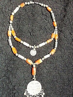 Ancient Yemenite Agate Tribal Silver Pendant Necklace