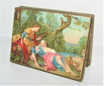 Vintage Mirror Compact Case Gilded Metal Decorative Romantic Early Days Scene