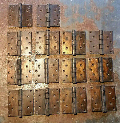 old vtg Antique victorian heavy Iron door Hinges hardware architectural salvage