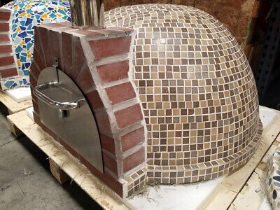 New Outdoor Mosaic Tile Brick Wood-Fired Wood Coal Burning Pizza Oven BBQ Grill