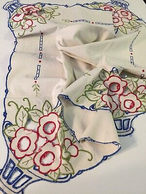 """Vintage Colorful Cutwork & Embroidered Tablecloth With Scalloped Edges 56x56"""""""