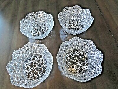 Dessert/Fruit Bowls Serrated Edges Starburst Glass Set of 4 Vintage Cut Glass