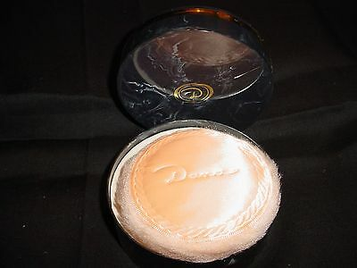 Vintage Dana Tabu Dusting Powder  Original Puff /  Black  Marble / Gold trim