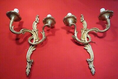 Pair Of Antique Gilded Bronze 2-Light Wall Sconces, French, Early19Th Century
