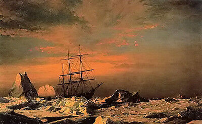 Oil painting william Bradford - ice dwellers watching the invaders landscape art
