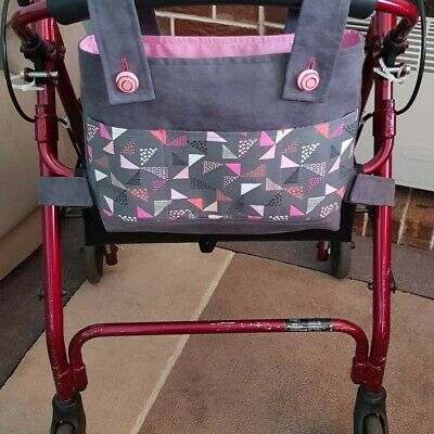 Pink And Grey Walker Bag, Rollator Tote, Handmade, 1of A Kind.