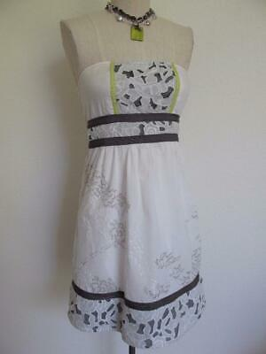 db4862a0355 Urban Outfitters Kimchi Blue Cotton Strapless Sundress S XS Embroidery Wht  Gray