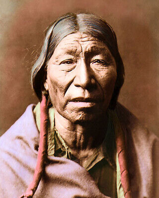 """CHEYENNE NATIVE AMERICAN INDIAN MALE 1910 8x10"""" HAND COLOR TINTED PHOTOGRAPH"""