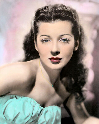 "GAIL RUSSELL HOLLYWOOD ACTRESS MOVIE STAR 8x10"" HAND COLOR TINTED PHOTOGRAPH"