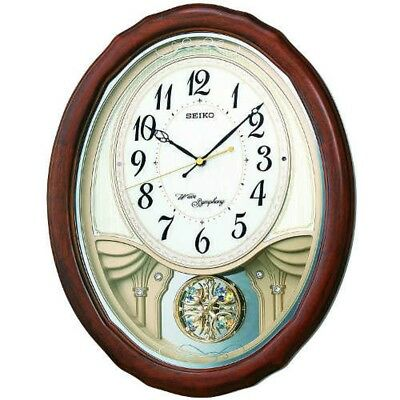SEIKO AM257B Wall Clock Triple Selection Melody Pendulum BRN Fast Ship Japan EMS