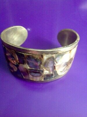 Vintage Alpaca Mexican Silver Cuff Bracelet with Abalone Design