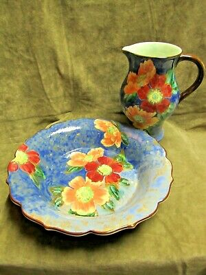 Royal Doulton England Wild Rose Roses G Hand Painted Water Pitcher & Fruit Bowl