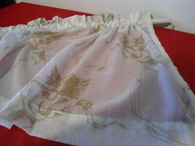 """OFF~WHITE & GOLD SHEER VALANCE   57""""Wx16""""L"""