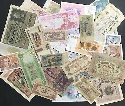 Lot Of 30 Foreign / World Banknotes Currency Mix Of Old & New Paper Money Notes