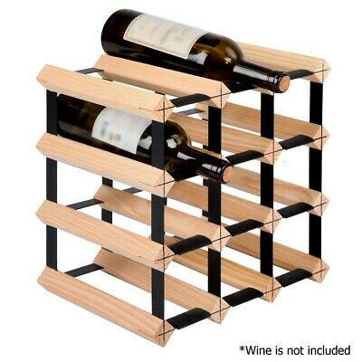 Artiss Heavy Duty Steel 12 Bottle Timber Wine Rack For Store Age And Display