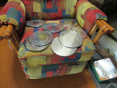 8 Strachan Silver Plated Dinner Coasters With Holder V.g.c.