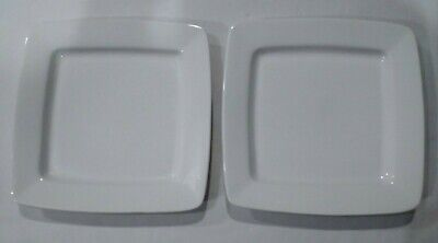 Set of 2 Gibson Designs WHITE ELEMENTS Square Salad Plates BIN 1004
