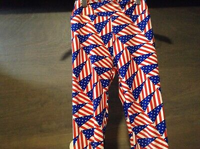 Lularoe Tween Leggings USA American Flag Red White and Blue