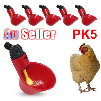 5pcs Automatic Cups Water Feeder Drinker Poultry Chook Bird Chicken Waterer HOT