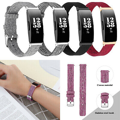 Fashion Woven Fabric Canvas Watch Strap Wristwatch Band For Fitbit Inspire HR
