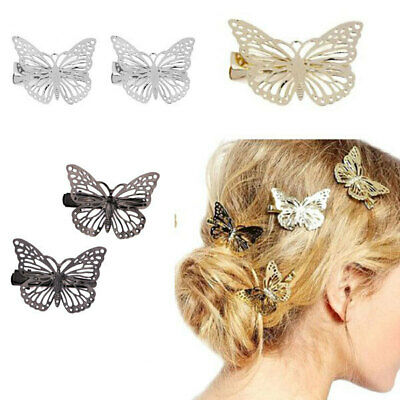 2pcs Single Prong Clip Alligator Hair Clips Vintage Butterfly Hair Accessories