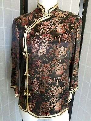 9983ddf118effe VINTAGE CHINESE PEONY Shanghai Embroidered Silk Jacket   Robe – Red ...