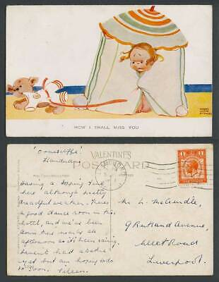 MABEL LUCIE ATTWELL 1929 Old Postcard How I Shall Miss You, Dog, Beach Hut 1249