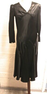 ecd3f5ad37ff 1930'S Black Silk Bias Cut Classic Cocktail Evening Dress Covered Buttons