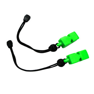 2pcs Emergency Safety Whistles with Wrist Strap for Scuba Dive Camping Green