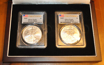 Set Of Two 2009  First Strike Silver Uncirculated American Eagles PCGS MS69