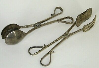 Vtg Lot of 2 - Silver Plated EP Zinc Italy Scissor Tongs