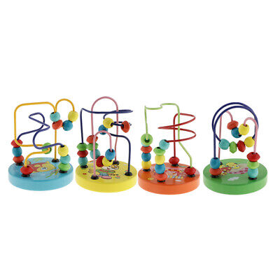 Wooden Developmental Toys Math Counting Circles Bead Abacus Maze Roller Coaster
