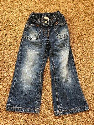 Next blue denim jeans trousers with adjustable elastic waist girls age 2-3 years