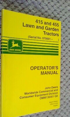 John Deere Works Manual For The 415 And 455 Lawn And Garden Tractors1998