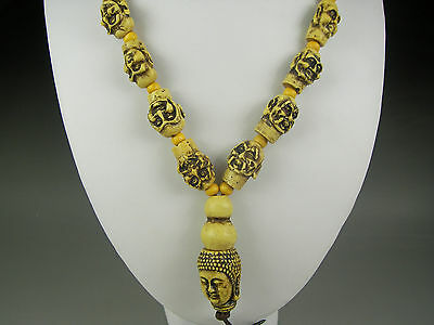 Rare Antique Chinese Hand-carved Bovine bone Eighteen Lohan  Necklaces