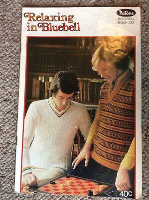 Vintage Patons Knitting Pattern Book 312 Relaxing in Bluebell - Men