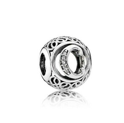 Authentic Pandora Sterling Silver Vintage C Clear Charm 7918472#20