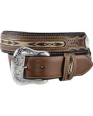 Nocona Ribbon Inlay Leather Belt - Reg and Big - N2475702move