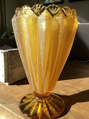 Beautiful ART DECO  Antique  TALL Amber Glass Scalloped Edge Frosted Vase