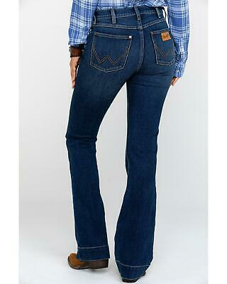 7ac26018 Wrangler Women's Heritage Exaggerated High Rise Boot Jeans Dark Blue 27W ...