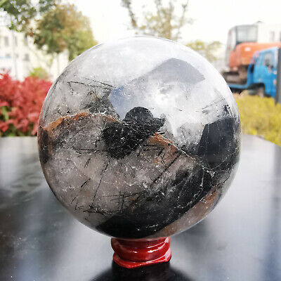 673G Natural black Hair Rutilated Tourmaline quartz crystal sphere ball Healing