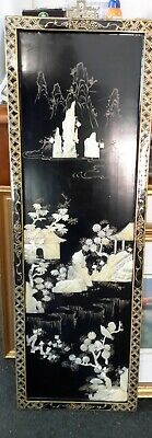 Vintage Black Lacquer And Mother Of Pearl Chinese Pictures