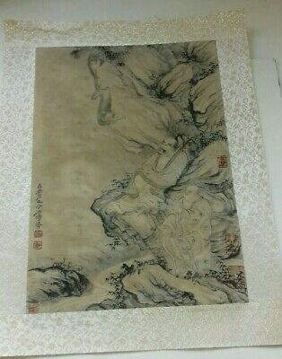 Vintage Chinese Painting On Silk, Buddhas, Monkey, Etc. Signed.
