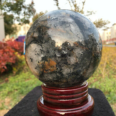 2959G Natural black Hair Rutilated Tourmaline quartz crystal sphere ball Healing