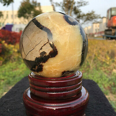 1232G A++Natural Septarian Quartz Crystal Sphere Ball Healing