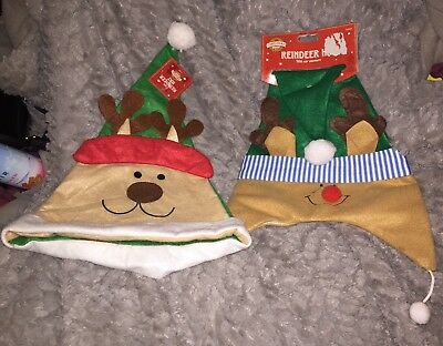 Two Christmas Shop Reindeer Hats One With Ear Warmers