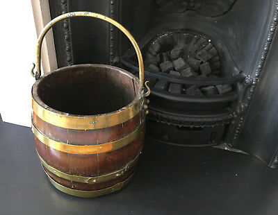 Late 19th century brass bound oak coal barrel - use as log bucket or planter