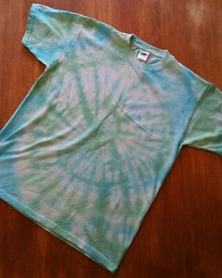 Tie Dye T Shirt Blue Green Swirl Fashion Trippy Hippy Party Fun Summer Festival
