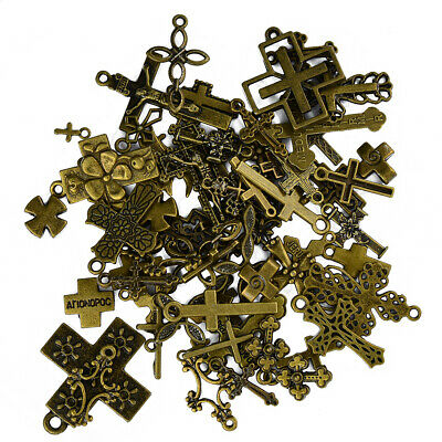 50pcs Vintage Antique Bronze Cross Charms Pendants For Jewelry Making Craft